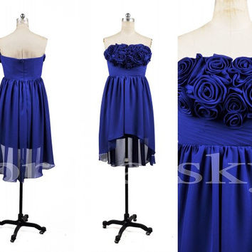 2014 New Arrival Lovely Strapless Corsets Royalblue Short Asymmetric Chiffon Formal Party Prom Dresses