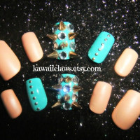 Matte Nude and Aqua-turquoise Spiked & Studded 3D Nails 3D False/Fake Nail