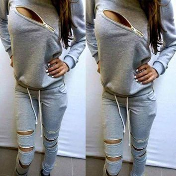 ONETOW Stylish Ladies Women Two Pieces Long Sleeve Zipper Hoodie Sweat and Pants Sports Outfits Set