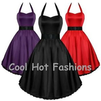 H & R Sexy Satin Halter Dress 50's Style Rockabilly Party PInup  0211