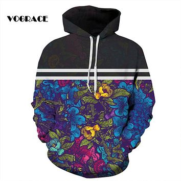VOGRACE New Fashion Sweatshirts Men/Women Flowers Hoodies Print 2 Striped Flowers Hooded Hoodies Thin Autumn Tracksuits Tops