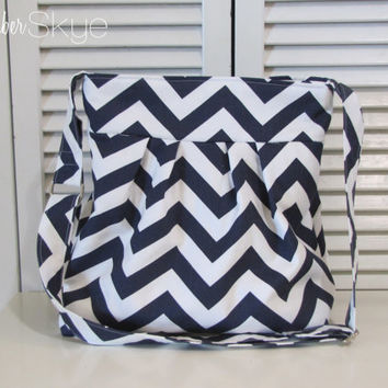 New! Navy and White Chevron Skylar Handbag with Solid Navy Interior - Crossbody Tote - Fall Purse