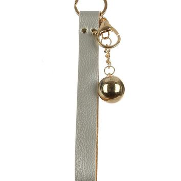 Sliver Faux Leather Strap Bag Accessory Key Chain