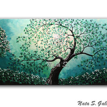 Turquoise Old Tree Painting.Landscape Original Painting.Abstract Tree Painting.Palette Knife.Turquoise Night Park Painting by   Nata S...
