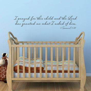 I Prayed for this Child Wall Decal - 1 Samuel 1:27 - Christian Wall Sticker