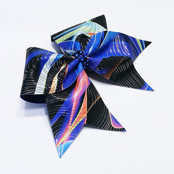 Cheer bow, Blue cheer bow, graffiti cheer bow, Cheerleading bow, Cheerleader bow, Dance bow, Softball bow, Cheerbow,