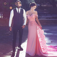Rose Moda Cap Sleeves Pink Prom Dress with Detachable Lace Train Formal Floor Length Lace Party Dress Custom Made