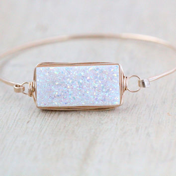 Druzy Rectangle Bracelet - Confetti Cream
