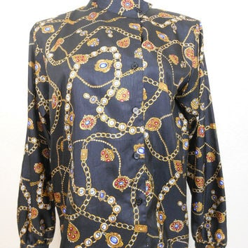 90s, Laura  & Jayne, Channel Inspired, Chain Print, Long Sleeve, Off-Center Buttoned Closure Blouse, Adjusteable Collar, Cuffs, Size 8, Fall