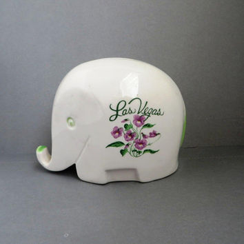 Vintage Bank, Elephant Bank, Las Vegas Souvenir Bank, White Piggy Bank, Ceramic Elephant Bank, Elephant Collectible, Collectors Bank