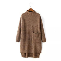 Casual Knitted Long Sleeve Turtleneck Single Pocket Midi Sweater