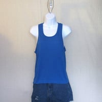Vintage 80s PLAIN BEACH SURF Skate Work Out Gym Simple Soft Blue Women Small 50/50 Tank Top