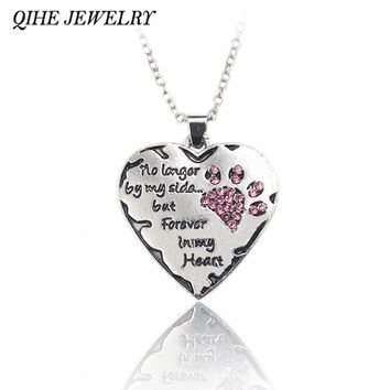 """QIHE JEWELRY """"no longer be my side but forever in my heart"""" Pink White Silver Crystal Cats Dogs Paws Claw Print & Heart Necklace"""