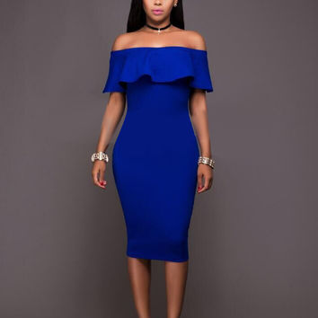 Aproms Women Summer Beach Dresses Woman Slash Neck Off Shoulder Blue Dress Sexy Ruffles Party Club Dresses Vestidos 10986