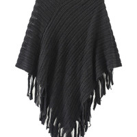 Black V-Neck Asymmetric Tassel Knitted Poncho Cape Jumper