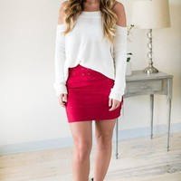 Steady Rock Lace Up Suede Skirt - Burgundy
