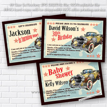 Birthday Invitation OR Baby shower  vintage car, 1st 2nd 3rd 30th 40th 50th 60th 70th 80th 90th Retro birthday party invite - card 212