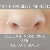 Delicate Nose Ring Set - Fake Nose Rings - Fake Nose Hoops - 14k Gold Filled nose ring - Sterling Silver nose ring - Fake Body Jewelry