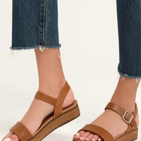Aida Cognac Leather Flatform Sandals