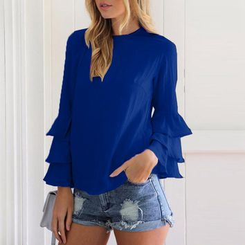Elegant Solid Color O Neck Long Sleeve Blouse