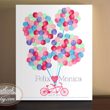 Watercolor Balloons Bike Guest Book - Cycling Guest book alternative - Bike Custom Guestbook - Watercolor Circles - Bicycle Built for Two