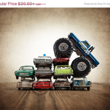 FLASH SALE til MIDNIGHT Bigfoot Car Crush Photo Print,  Wall Decor, Playroom decor,  Kids Room, Nursery Ideas, Gift Ideas,