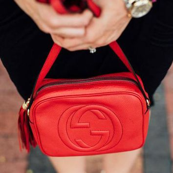 Gucci fashion hot double G lady single shoulder fringed bag Red