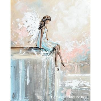 """SPECIAL RELEASE GICLEE PRINT """"Forever Watching Over"""" Abstract Angel Painting Guardian Angel Sitting"""