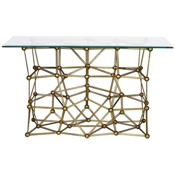 Molecule Console Table with Glass Top | Gold