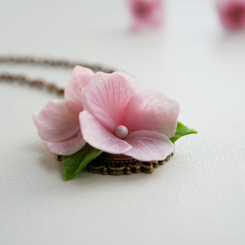 Tender pink Flower Necklace - Hydrangea Floral pendant. Fashion Flower Necklace. Polymer clay jewelry. Spring necklace. Flower Jewelry.