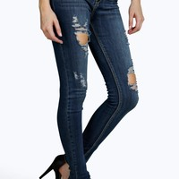 Jodie High Rise Distressed Knee Skinny Jeans