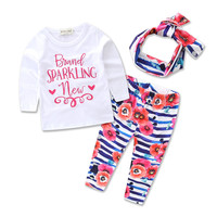3pcs Autumn Spring Newborn Kids Baby Girls Tops letter long sleeve T-shirt+Floral Leggings Pants Headband Outfits Set
