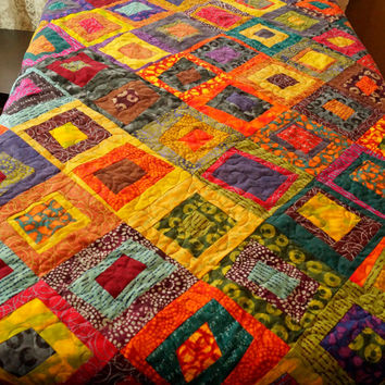 Patchwork Throw Quilt in a Bright and Colorful, Improv Design