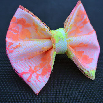 Neon Lace Hair Bow