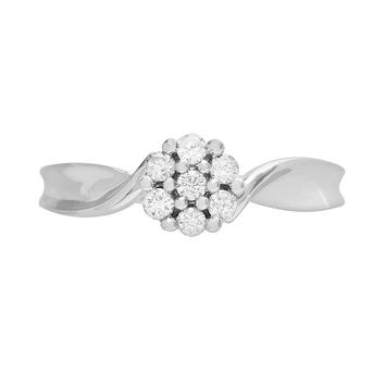 Cherish Always Round-Cut Diamond Cluster Engagement Ring in 10k White Gold (1/5 ct. T.W.)