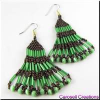 Native American Style Beadwork Seed Bead Earrings Layered Serenade in Green and Bronze
