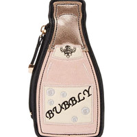 Pink Embroidery Bubbly Bottle Clutch Bag