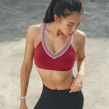High Impact Cross Back Retro Compression Sports Bra