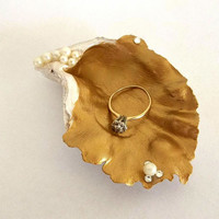 Oyster Shell Ring Dish, gold white pearl jewelry trinket box tray vanity wedding ring holder swarovski elements seashell coastal beach decor