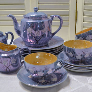 Vintage Lusterware Tea Set Blue Peach Cherry Blossoms Red Letter Japan PanchosPorch