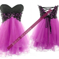New Attractive Custom Strapless Sweetheart Short Lace Purple Prom Dresses Homecoming Dresses Party Dresses