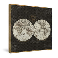 World Map (Black) Canvas Wall Art