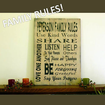 Family Rules Rustic Sign, Personalized Sign, Distressed Sign, Kids Sign, Custom Sign, Home Decor, Wall Sign