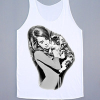 Love Cat Lana Del Rey Shirt Lana Del Rey Cat Shirt Pop Rock Tank Top Women Tunic Sleeveless Singlet White Shirt Vest Women T-Shirt Size M,L