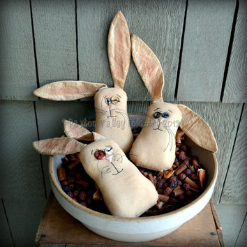 Lop Eared Bunny Bowl Fillers Three Rustic Primitive Rabbit Stash Abouts Easter And Spring Home Decoration