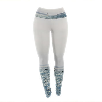 "Jillian Audrey ""Sail the Sparking Seas"" Blue Gray Yoga Leggings"