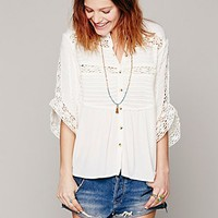 Womens Pintuck Crochet Inset Buttondown