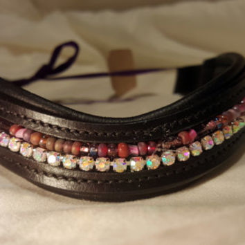 Bling English Curved Full Size Browband Purple Glass Beads with White Rhinestones