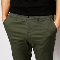 ASOS Skinny Chinos In Dark Khaki