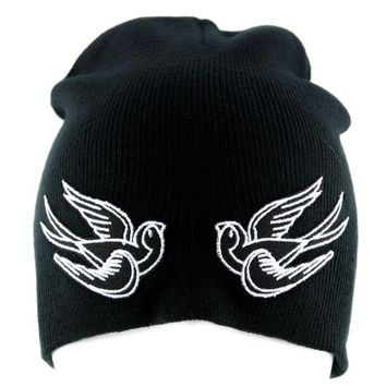 ac spbest White Swallow Sparrow Birds Beanie Alternative Clothing Knit Cap Rockabilly Tattoo Ink